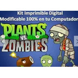 Kit Imprimible Candy Bar Plantas Vs Zombies Cumpleaños Torta