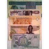Colección De Billetes De Egipto Misma Firma Década 70`s 80's