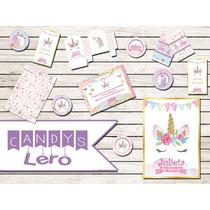 Kit Imprimible Unicornio Corona Shabby Chic Candy Bar Deco