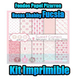 Kit Digital Fondos Papel Pizarron Rosas Shabby Fucsia