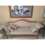 Sofa En Madera Solida De 4 Puestos,tapizado Entela Verdeoliv