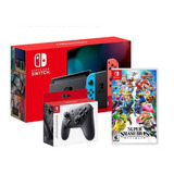 Nintendo Switch Neon 2019 32gb + Mando + Super Smash Bros