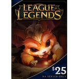 Tarjeta League Of Legends $25  3500 Riot Points Servidor Na