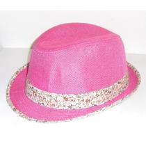 Bello Sombrero Color Fucsia Con Cinta Floreada Nuevo